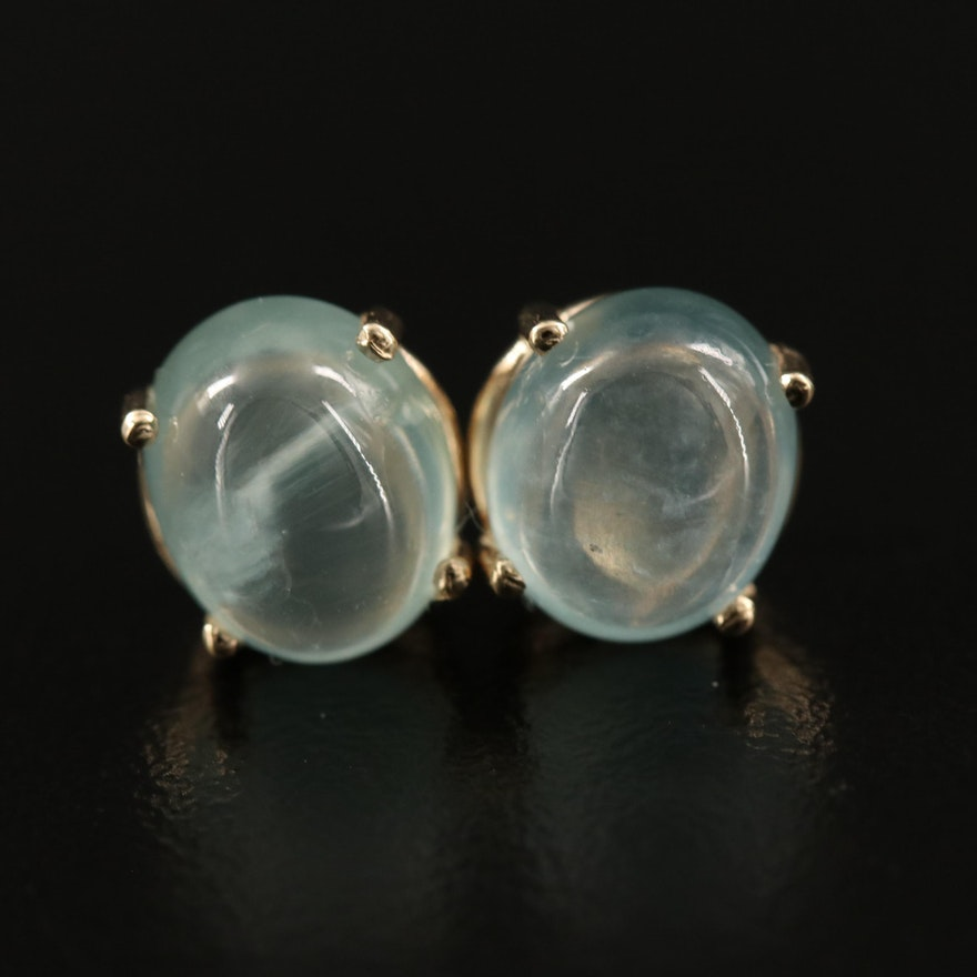 14K Prehnite Stud Earrings