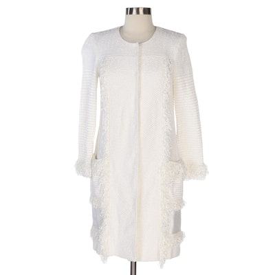 St. John Couture White Ribbon Float Knit Topper with Fringe Accent