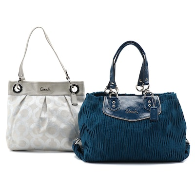 Coach Ashley Gathered Sateen Satchel with Long Wallet and Canvas Two-Way Tote