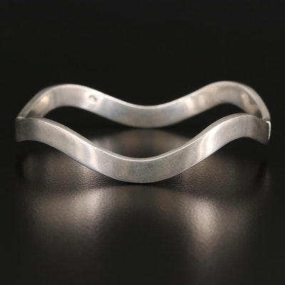 Sterling Silver Hinged Bangle Bracelet with Curving Design