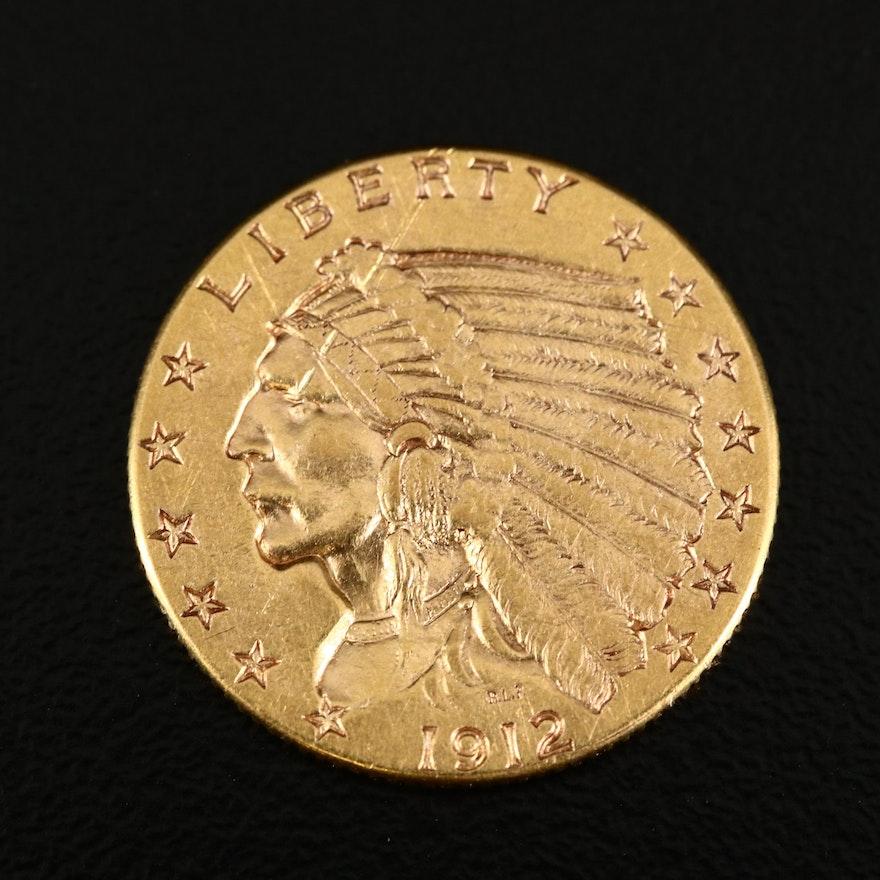 1912 Indian Head $2.50 Gold Quarter Eagle