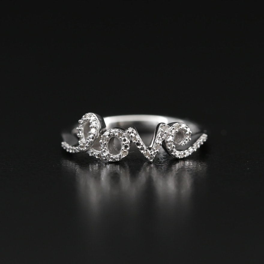 "Sterling Silver Diamond ""love"" Ring"