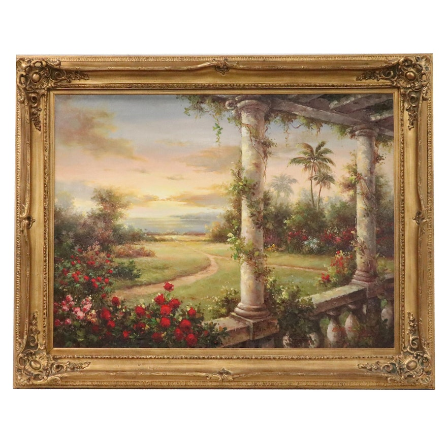 Large Scale Landscape Oil Painting of Columned Porch and Lake Scene