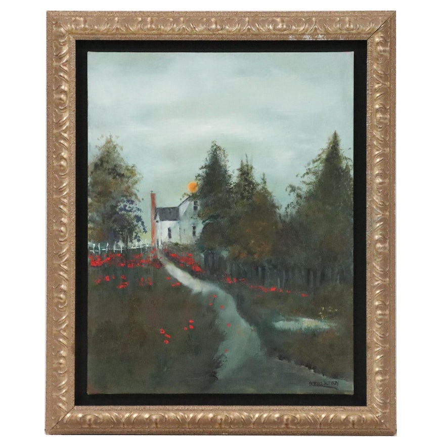 Sabra Schray Oil Painting of House and Garden