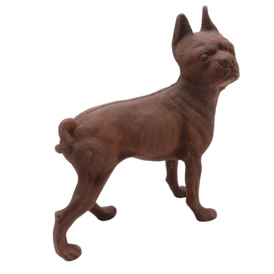 Cast Iron Boston Terrier Doorstop, Early 20th Century