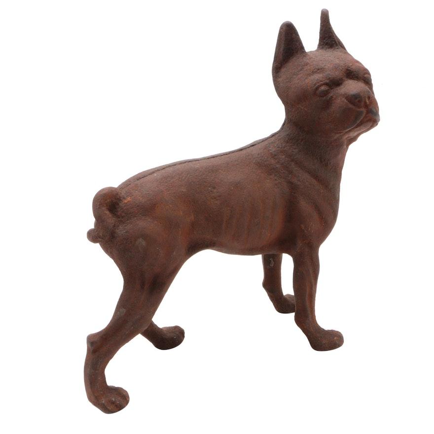 Cast Iron Boston Terrier Doorstop, Early 20th Century