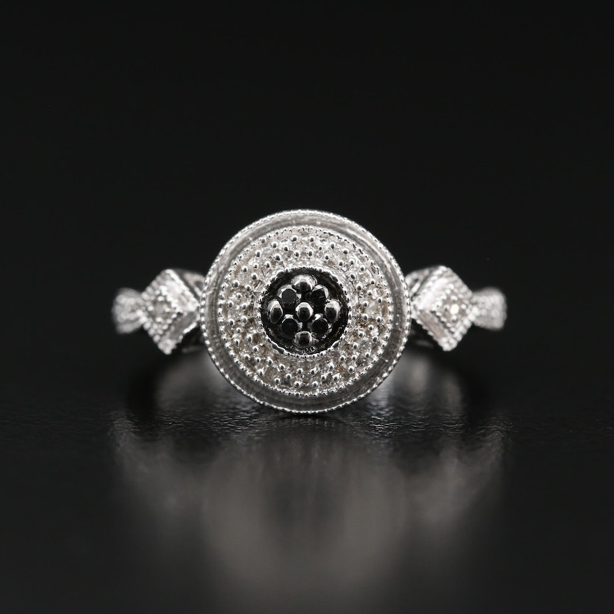 Sterling Silver Diamond and Filigree Ring