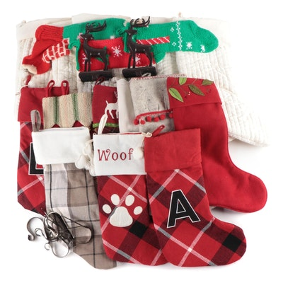 Pottery Barn, Kohl's, and Other Christmas Stockings with Metal Stocking Hooks