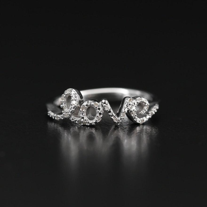 "Sterling Silver Diamond Script ""Love"" Ring"