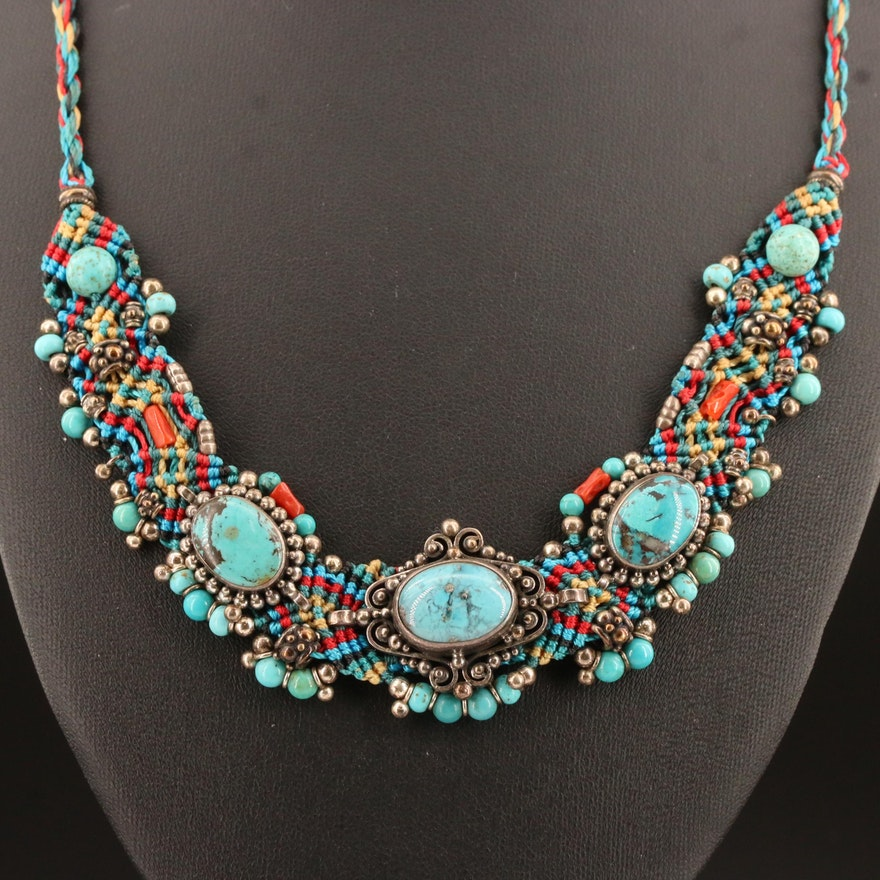 Southwestern Style Sterling Silver, Turquoise and Coral Beaded Tribal Necklace