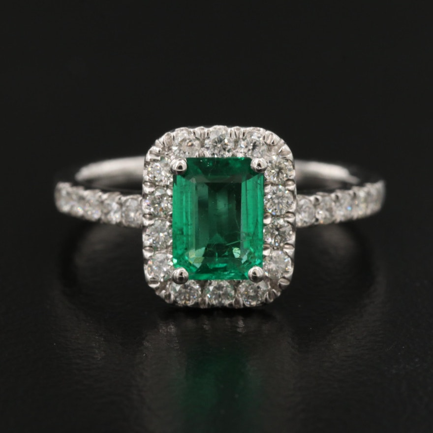 Platinum Emerald and Diamond Halo Ring