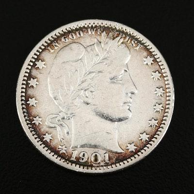 1901 Barber Silver Quarter