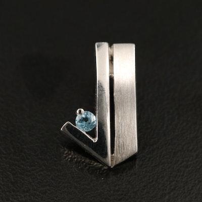 Sterling Silver Topaz Geometric Pendant