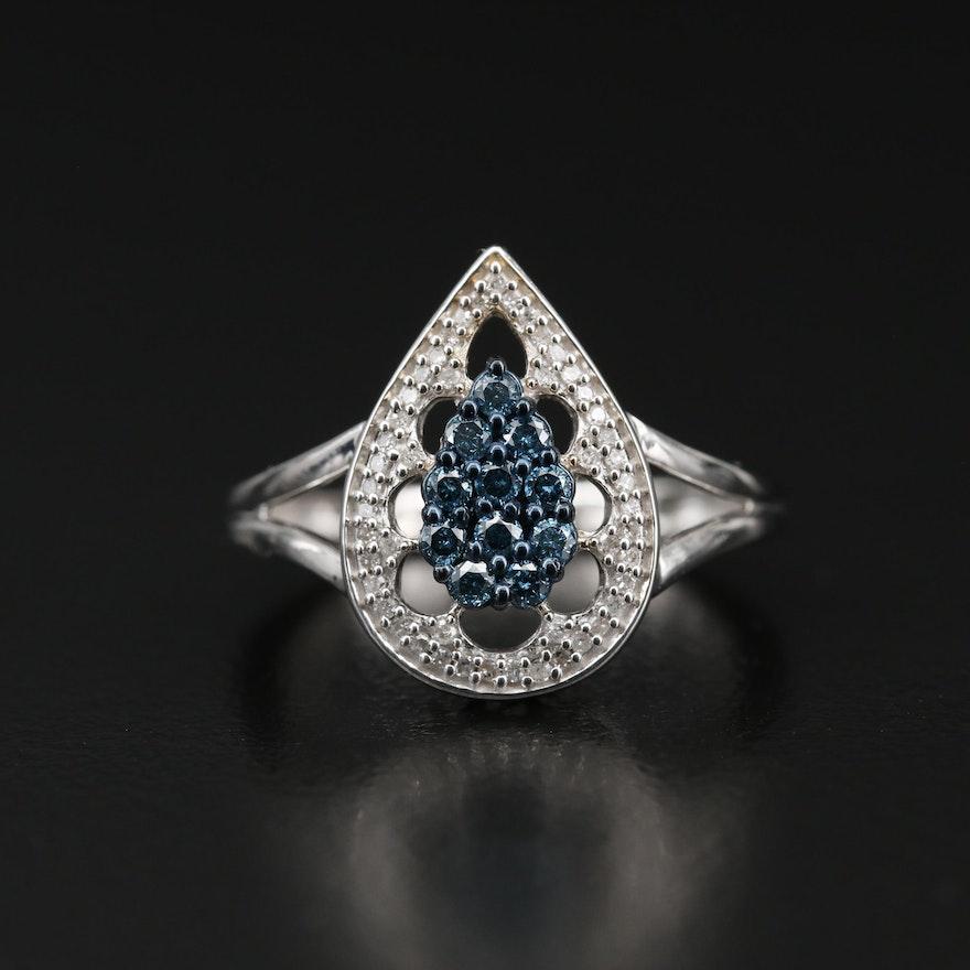 Sterling Silver Diamond Teardrop Split Shoulder Ring