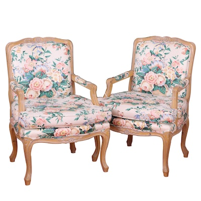 Pair of Louis XV Style Blonde Wood Fauteuils, Mid to Late 20th Century