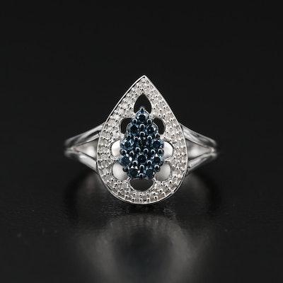 Sterling Silver Diamond Teardrop Split Shank Ring