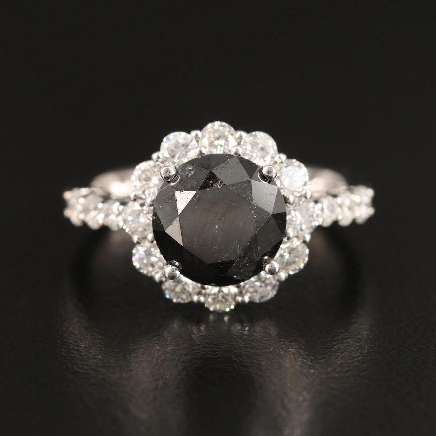 14K 4.82 CTW Black Diamond and Diamond Ring