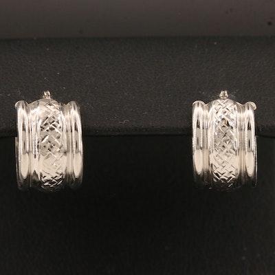 14K Huggie Earrings Featuring Diamond Cut Pattern