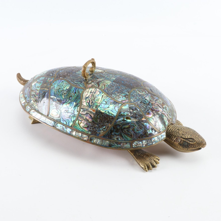 Mexican Tlaquepaque FCS Copper and Abalone Turtle Serving Dish