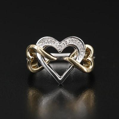 Sterling Silver Triple Interlocking Heart Ring