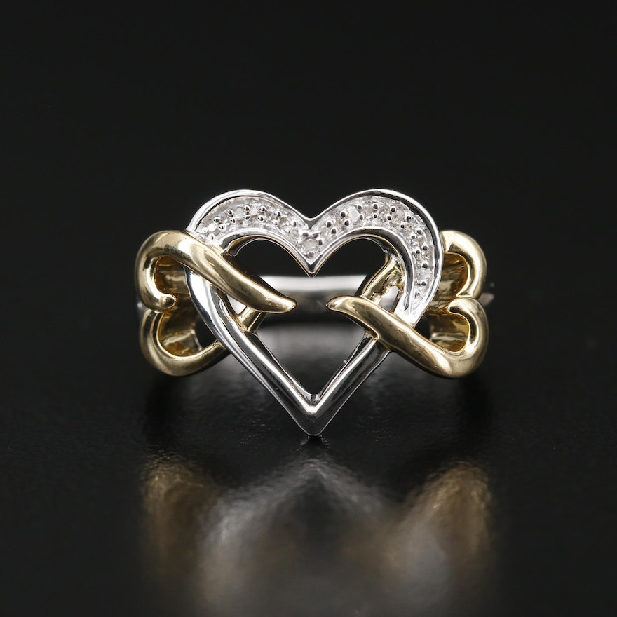 Sterling Silver Triple Interlocking Heart Ring