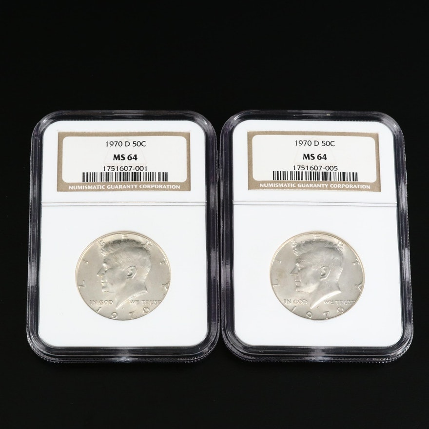 Two NGC Graded MS64 1970-D Kennedy Silver Clad Half Dollars