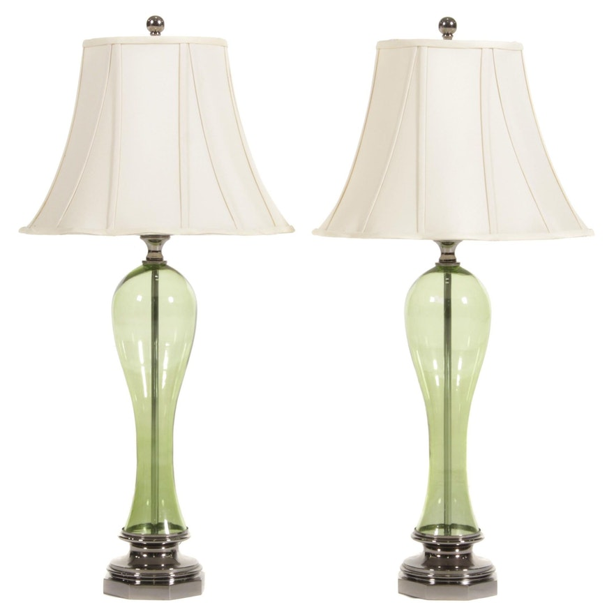 Mid Century Modern Glass and Chrome Table Lamps, 20th Century