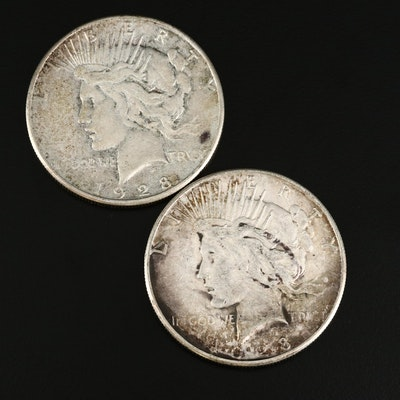 Two 1928-S Peace Silver Dollars