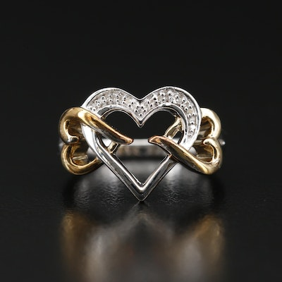 Sterling Silver Diamond Two-Tone Interlocking Heart Ring