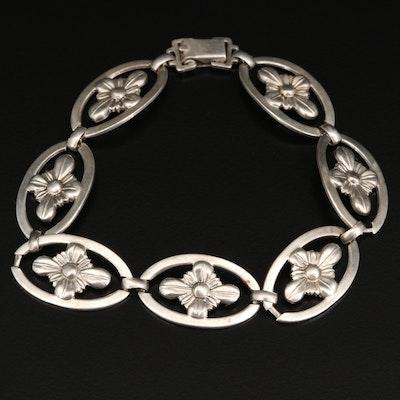 W.E. Richards Sterling Oval Flower Link Bracelet
