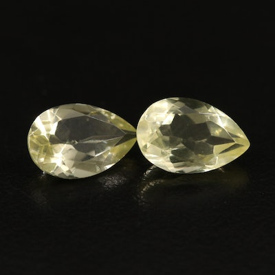 Matching Pair of Loose 5.93 CTW Pear Faceted Citrines