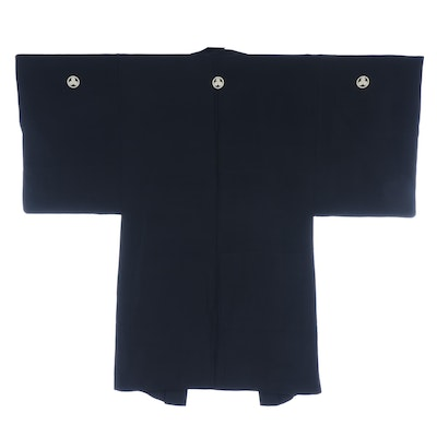 Japanese Five Crest Black Silk Haori with Scenic Lining and Himo Ties