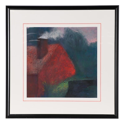 Alan Lachman Abstract Pastel Drawing of House