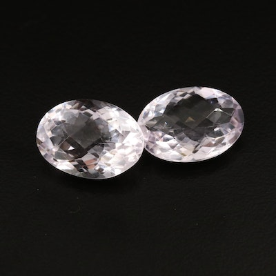 Matching Pair of Loose 22.15 CTW Oval Shaped Amethysts