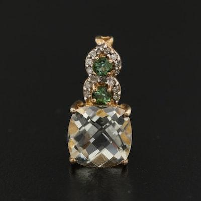 Sterling Silver Prasiolite, Diopside and Diamond Pendant