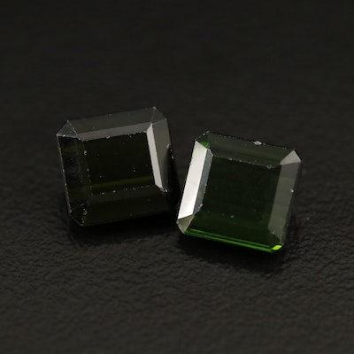 Matching Pair of Loose 5.71 Rectangular Tourmalines