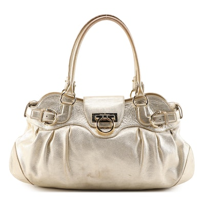 Salvatore Ferragamo Marisa Metallic Leather Shoulder Bag