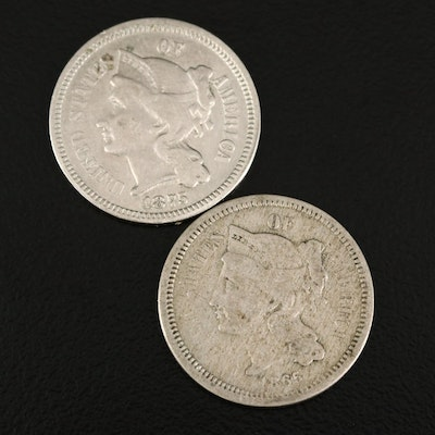 1865 and 1875 Liberty Head Three-Cent Coins
