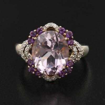 Sterling Silver Quartz, Amethyst and Diamond Ring