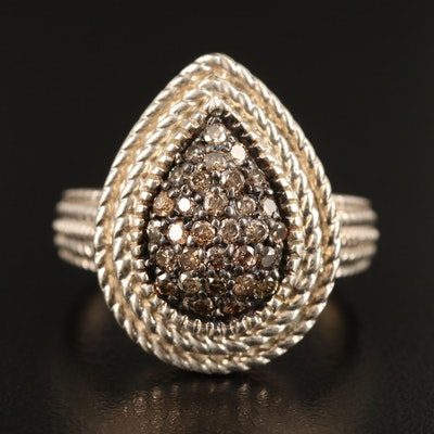 Sterling Silver Diamond Teardrop Ring