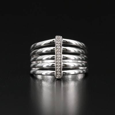 Sterling Silver Diamond Multi-Row Band