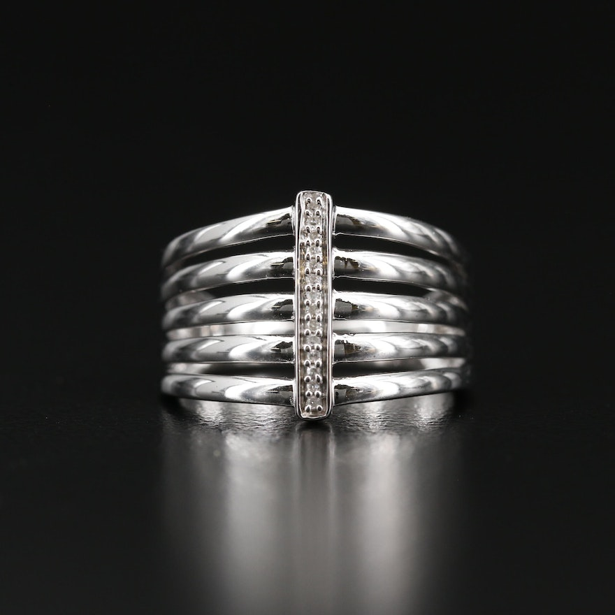 Sterling Silver Diamond Multi-Row Band
