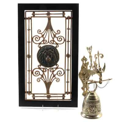 Brass Wall Mounted Monastery Bell with Neoclassical Style Wall Metal Hanging