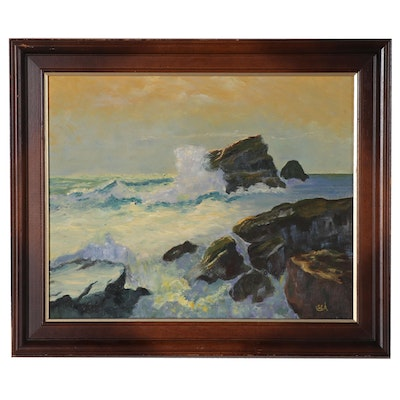 S.E. Attenberg Seascape Oil Painting, Late 20th Century