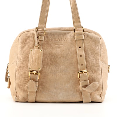 Prada Cervo Folding Deerskin Satchel in Beige