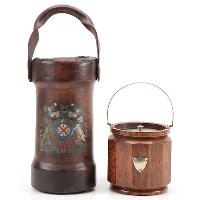 English Leather Powder Jack and Wooden Tobacco Jar, Early to Mid 20th Century