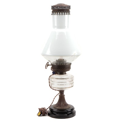 R. Ditmar Vienna Metal and Glass Converted Oil Lamp