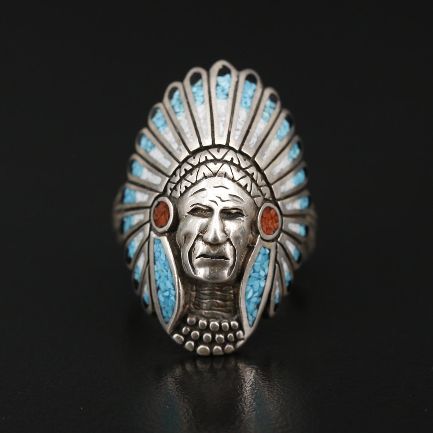 Southwestern Style Sterling Silver Chieftain Ring