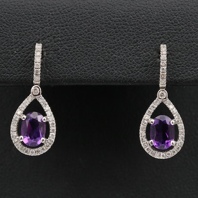 14K Amethyst and Diamond Drop Earrings