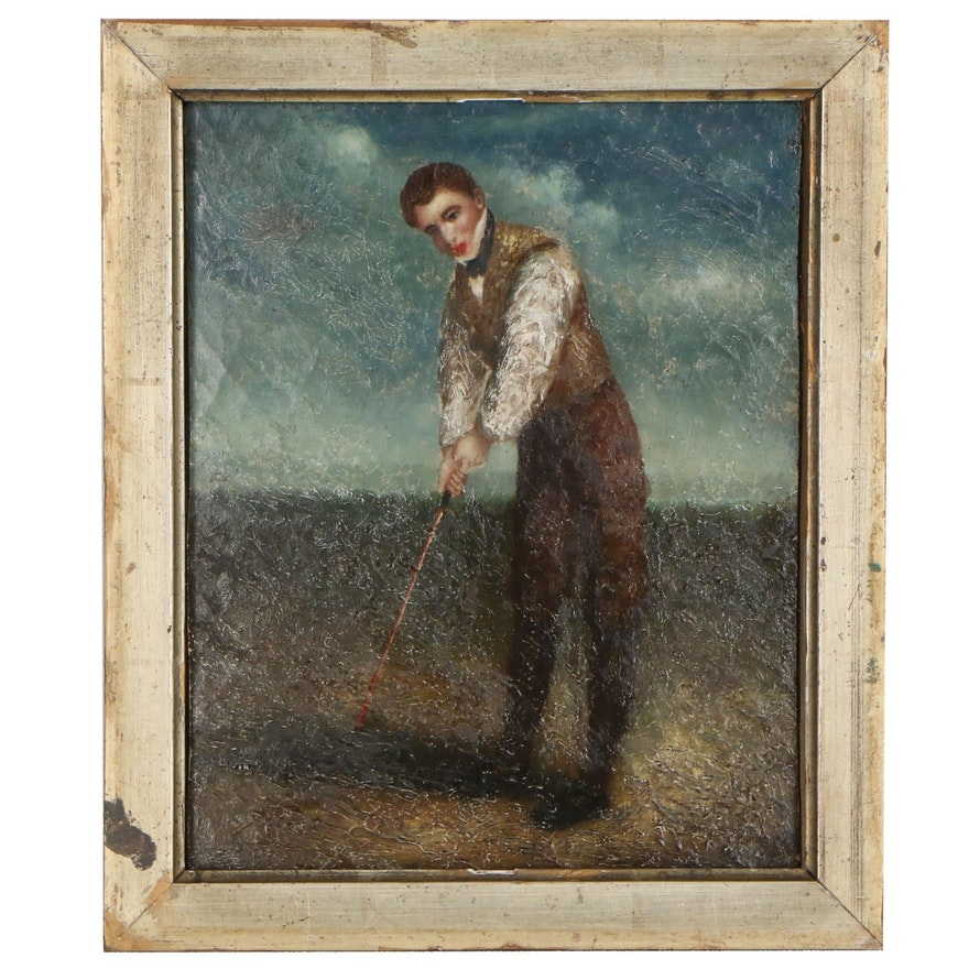 Figural Oil Painting of Golfer, 19th Century